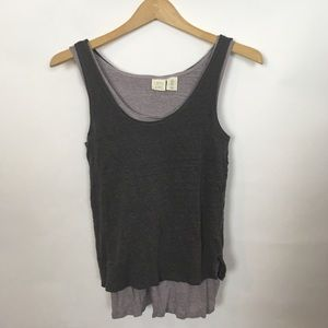 Lucy Laurell Womens S Linen Tank Top Layered Gray